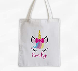 3eedc7f8f Unicorn with Bow and Rainbow Hair Kids Tote Bag - Personalized Unicorn Face  Cotton Overnight Bag