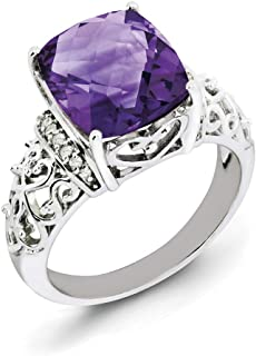 Sterling Silver Amethyst and Diamond Ring - Ring Size Options Range: J to T