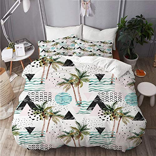 WINCAN Juego de cama de 3 piezas,diseño abstracto de primavera,colorido,sin costuras,juego de funda de edredón con 2 fundas de almohada tamaño individual (135 x 200 cm),225x225cm