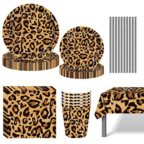 8 Guest (70 pcs) Leopard Print Party Set with paper plates, cups, napkins, table cover and banners