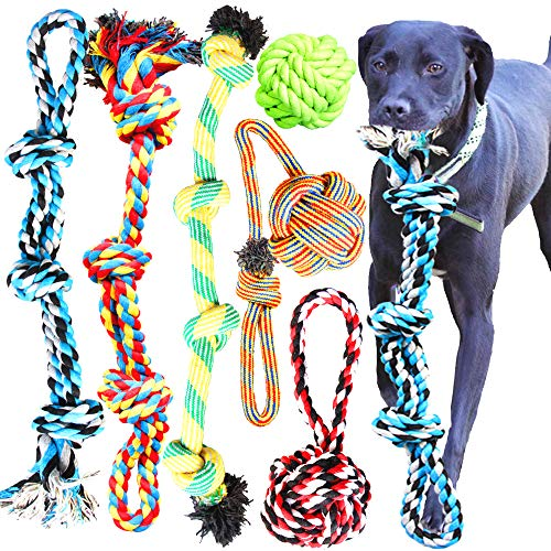 Youngever 6 Pack Large Dog Rope Toys,...