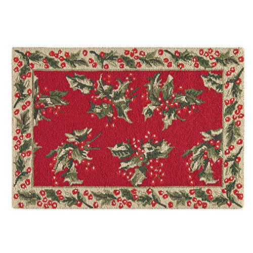 C&F Home Holly Red Christmas Xmas Holiday Botanical Mistletoe Wool Traditional Handcrafted Premium Hooked Indoor Area Rug 2'x3' Red