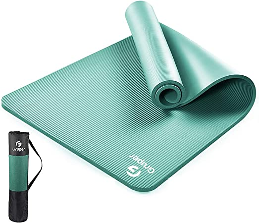 Gruper Thick Yoga Mat, Eco Friendly NBR - Non Slip185 x 80cm(LxW), Premium Exercise & Fitness Mat with Carry Bag for Yoga, Pilates, and Gymnastics