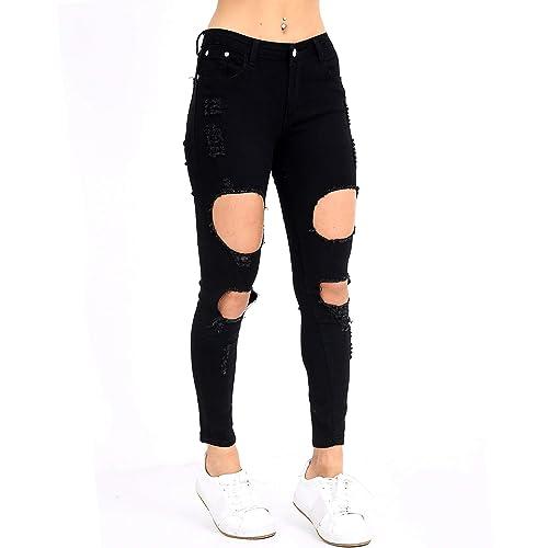 New Women/'s Ladies Ripped Knee Slim Fit Skinny Denim Mid Rise Jean Size 6-14