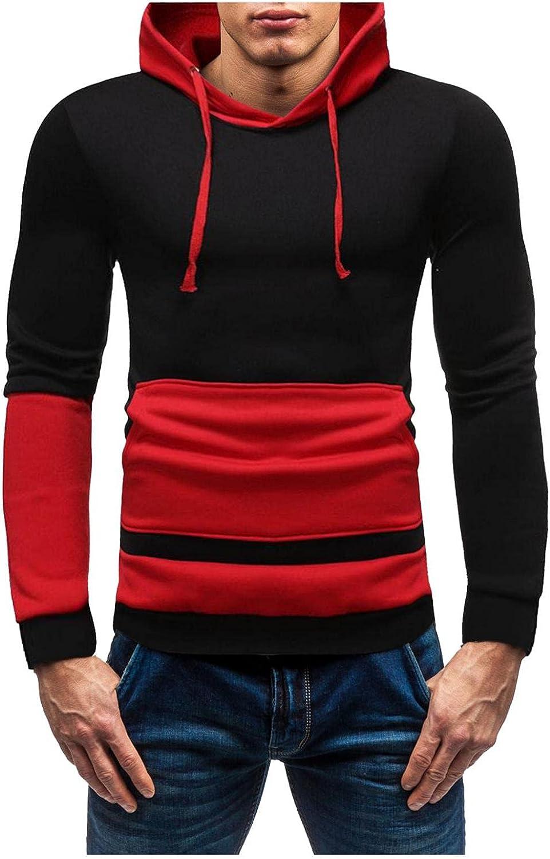 Aayomet Men's Sweatshirts Hoodies Color Block Patchwork Long Sleeve Pullover Casual Workout Sport Tops Sweaters Blouses