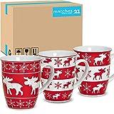 matches21 - Tazas navideñas (36 unidades, cartón, porcelana, 10 cm / 250 ml), diseño de alce, color rojo y blanco