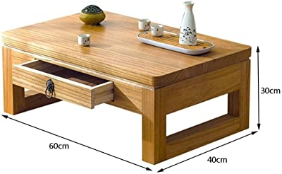 Coffee Tables Solid Wood Window Table Japanese Tatami Coffee Table Balcony Low Table Leisure Tea Table Tables (Color : Wood, Size : 60 * 40 * 30cm)