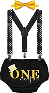HIHCBF Boys First Birthday Outfit Cake Smash Set Mr One Derful Baby Shower Costume Photo Shoot Bloomers Suspenders Bowtie ...