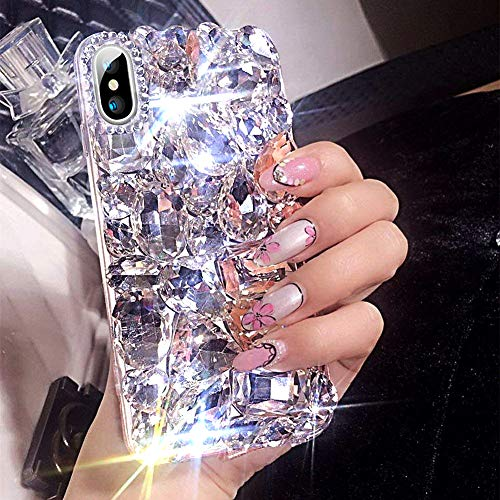 ikasus Funda para iPhone XR, iPhone XR Diamante Caso, 3D hecho a mano Bling diamantes de imitación de lujo brillante diamantes de imitación funda para niñas...