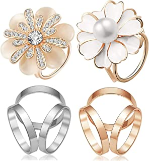 CAREOR - Confezione da 4 sciarpe da donna a tre anelli, in seta, con clip smaltata, stile semplice, con fibbia liscia, acc...