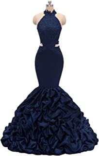 Womens Mermaid Prom Dress Long 2020 Backless Evening Gown With Lace