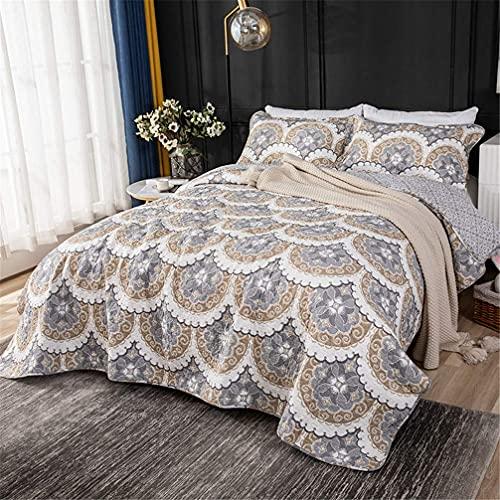 QTWW Colcha Acolchada de algodón 3 Piezas 230x250cm Beige Estampado en Forma de Abanico Reversible Patchwork Edredón Manta Sábana Juego de Cama