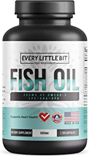 Every Little Bit Omega-3 Fish Oil Softgels | Wild Menhaden Omega-3 | 720mg EPA + DHA + DPA | Sustainable – Burpless – All-...
