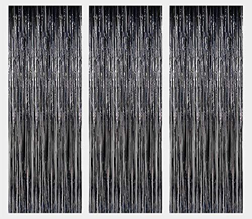3 Pack Metall Lametta Vorhänge Folie Fransen Schimmer Vorhang Tür Fenster Dekoration für Geburtstag Hochzeit Partei liefert Luftschlangen 92*245cm - Schwarz