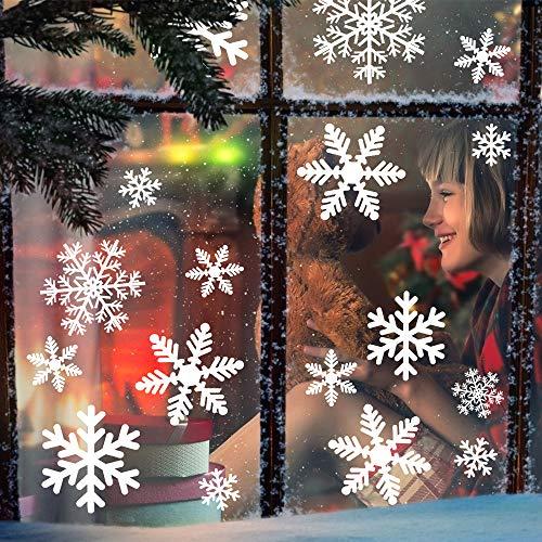 MEIXI 135 Schneeflocken Fensterbilder Weihnachtsdeko Winterdeko Deko Fenster Statisch Haftende PVC Aufklebe für Weihnachts Fenster Dekoration, Schaufenster, Vitrinen, Glasfronten(5 Blatt)