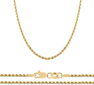 10K Yellow Gold 2.3mm Diamond Cut Rope Chain Necklace, 16