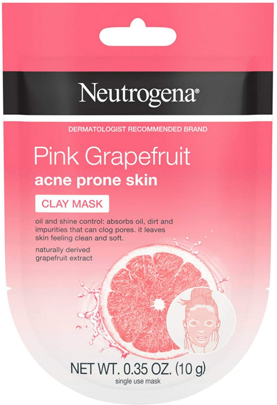 Neutrogena Pink Grapefruit Clay Face Mask Acne Prone Skin Grapefruit Extract, Oil Control & Shine Control, Single-Use 0.35 oz (Pack of 4)