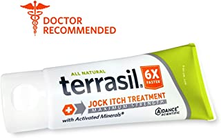 Jock Itch Treatment MAX - 6X Faster Than Leading Brands Dr. Recommended 100% Guaranteed All Natural Antifungal Ointment Treats Tinea Cruris Relieves Itch Irritation by Terrasil® 50 Grams