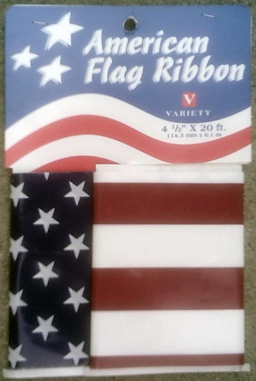 Variety Accessories 20' of Stars and Stripes American Flag Vinyl Ribbon