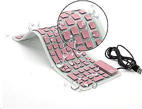 CHIN FAI Teclado de Silicona Plegable Teclado Flexible Teclado de enrollar Teclado USB Teclado de computadora Impermeable Suave Cable de Silicona para PC portátil PC portátil