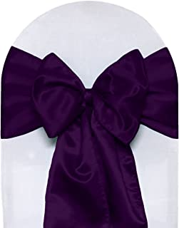Your Chair Covers - Satin Sashes Eggplant (Pack of 10), Chair Sashes for Weddings, Events, Hotels and Catering Services