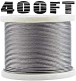Bysn 1/8 T316 Stainless Steel Cable, Aircraft Cable for Deck Railing, 7 x 7 Strands Constr...