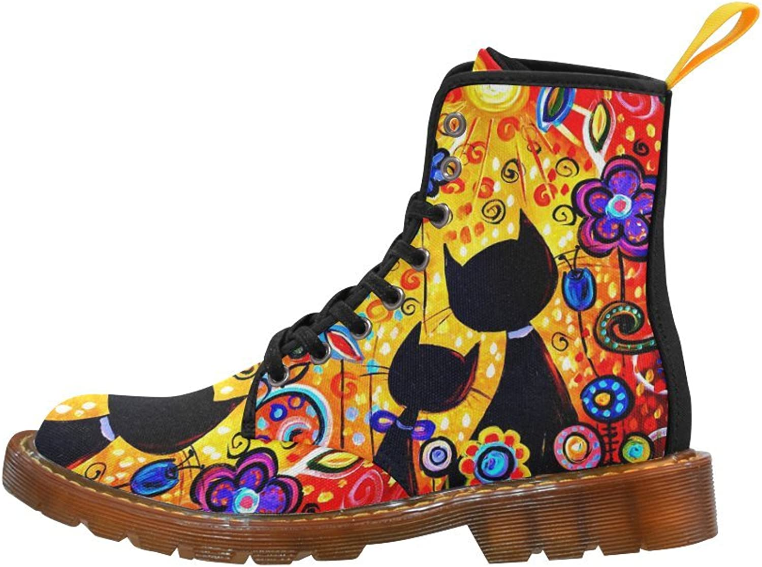 Your-fantasia Black Cat Couple Flower Cool Girl's Canvas Martin Boots for Women