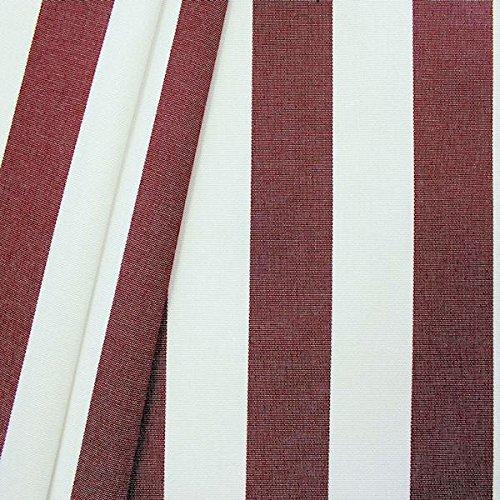 Markisenstoff Outdoorstoff Streifen Breite 160cm Meterware Weinrot-Weiss