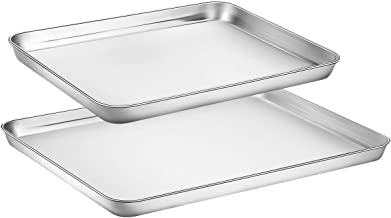 Toaster Oven Tray Pan, Zacfton Baking Sheet Stainless Steel Cookie Sheet Rectangle Size 16 x 12 x 1 inch, Non Toxic & Heal...