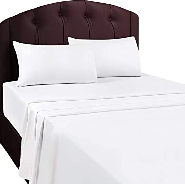 Flat Sheet (Queen White) Brushed Microfiber Breathable Extra Soft and Comfortable - Wrinkle Fade Stain and Abrasion Resistant