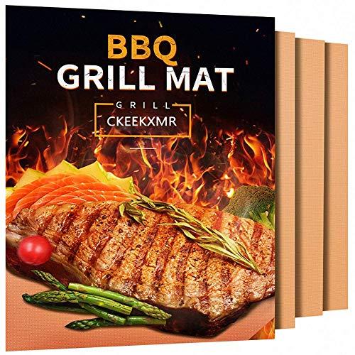 Grill Mat - Set van 5 Heavy Duty BBQ Grill Mats - Niet Stick, BBQ Grill en Bakmat - Herbruikbaar, Gemakkelijk te reinigen Barbecue Grilling Accessoires (Zwart) messing