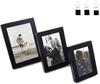 AceList Set of 3 Decorative Picture Frames for Bedroom, Living Room, Stairwell, can be Placed on The Desktop or Suspended for Wall, Simple Industrial Photo Frame(Black)