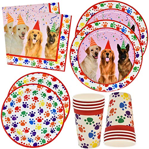 Dog Party Supplies Set 24 9' Plates 24 7' Plates 24 9 Oz Cups 50 Luncheon Napkins Puppy Birthday Decorations Paper Paw Dog Girl Kids Themed Disposable Tableware Party Favor Good Set by Gift Boutique