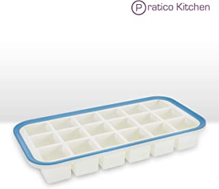 Superb Cube 1.4 Inch Cube Silicone Ice Cube Tray with EZ-Release & No-Spill Steel Reinforced Rim - Makes 18 Cubes
