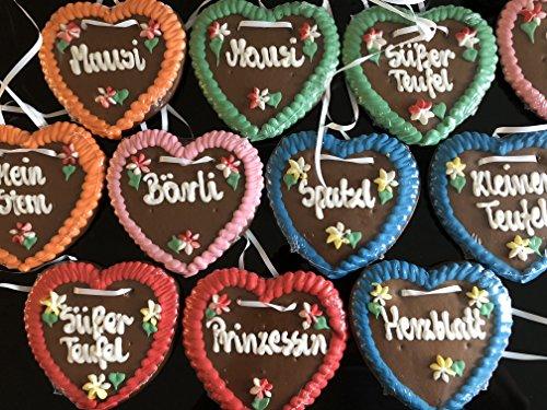 20 Stück Lebkuchen Herz weich und saftig! Gemischte Farben und Sprüche Kindergeburtstag Wurfmaterial Lebkuchenherzen