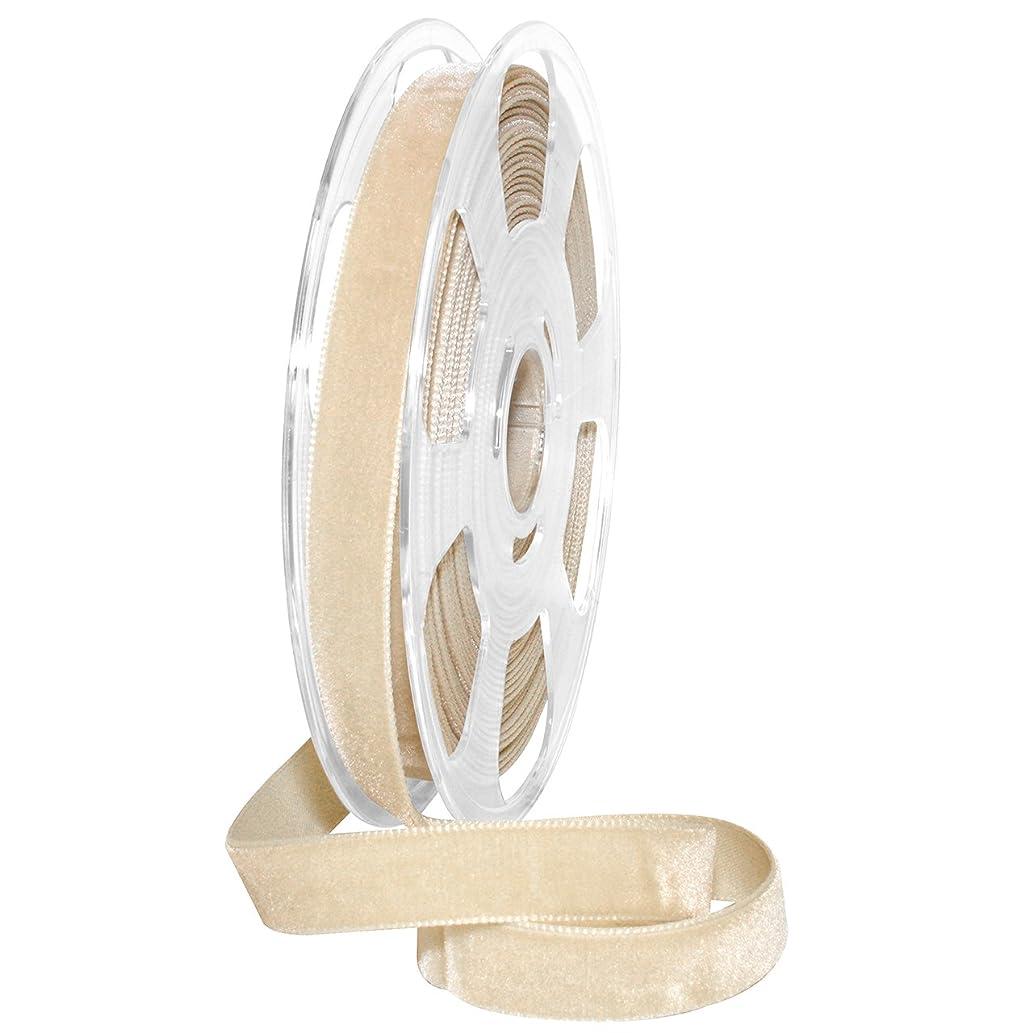 Morex Ribbon Nylon, 5/8 inch by 11 Yards, Blonde, Item 01215/10-602 Nylvalour Velvet Ribbon, 5/8