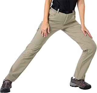 MIER Women`s Outdoor Quick Dry Hiking Pants Lightweight Cargo Pants with Elastic Waist, Water Resistant and Stretch