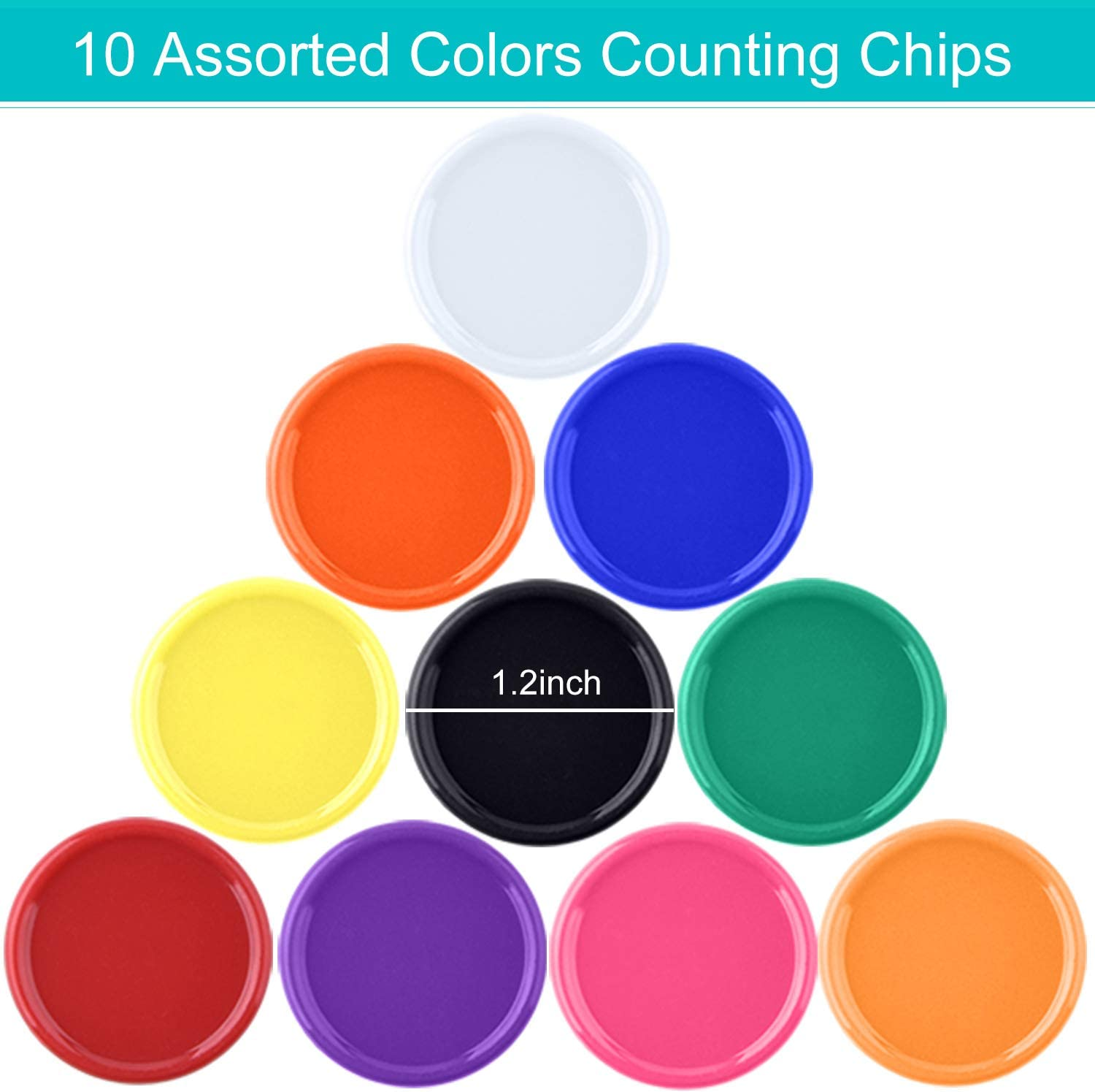 Coopay 300 Pieces 10 Colors Plastic Learning Counters Disks Bingo Chip Counting Discs Markers for Math Practice and Poker Chips Game Tokens,1 Inch