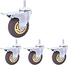 Castor Wheels Trolley Meubilair Caster Draad M12 Heavy Duty 3inch / 100mm Rubber Silent Swivel Casters Voor & Industrial T...