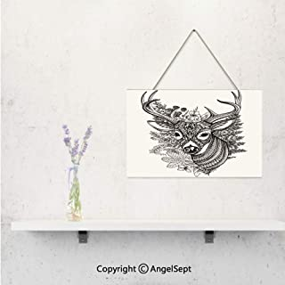 Personalized 3D Print on Wood Pallet with Jute Rope Hanger,Customized with Hand Drawn Horned Deer with High Details Ethnic Ornaments Wild Flowe Wall Hanging bedroom and children's room Decorative