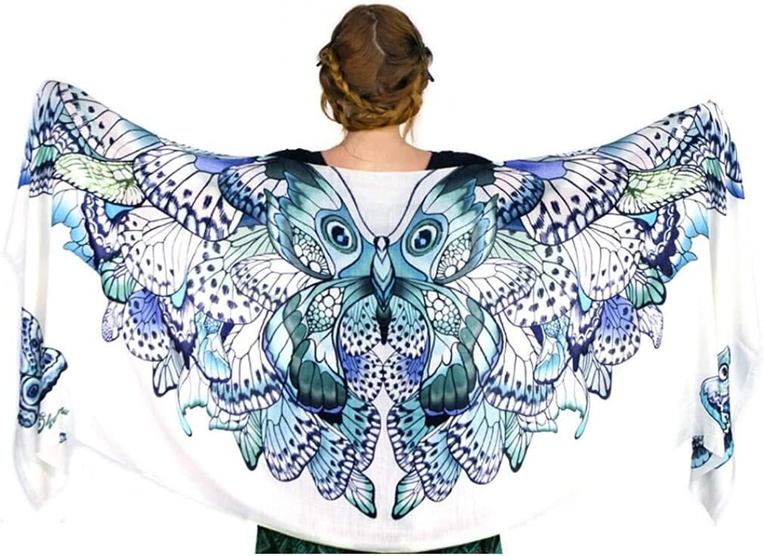 bluee Butterfly Silk and Cashmere Wings Scarf. Perfect for Bridal & Wedding Scarf