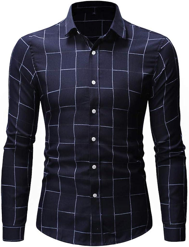 MODOQO Men's Button Down Shirt Long Sleeve Plaid Casual Shirt Top