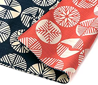 Furoshiki traditional Japanese fabric - wrapping cloth - Extra Large 40.9 x 40.9 inches, 100% Cotton, Made in Japan Honjien Reversible Isa Monyo classical pattern [Pine Leaves Iron black/Red]