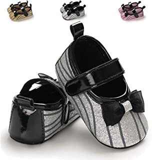 ENERCAKE Infant Baby Girls Mary Jane Flats Non-Slip Soft Soled Toddler First Walkers Crib Shoes Princess Dress Shoes Silver Size: 0-6 Months Infant