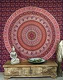 GURU SHOP Boho-Style Wandbehang, Indische Tagesdecke Mandala Druck- Rot, Baumwolle, 230x210 cm, Bettüberwurf, Sofa Überwurf