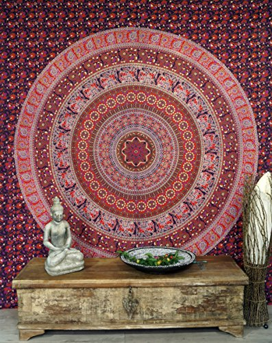 Guru-Shop Indisches Mandala Tuch, Wandtuch, Tagesdecke Mandala Druck - Rot, Baumwolle, 230x210 cm, Bettüberwurf, Sofa Überwurf