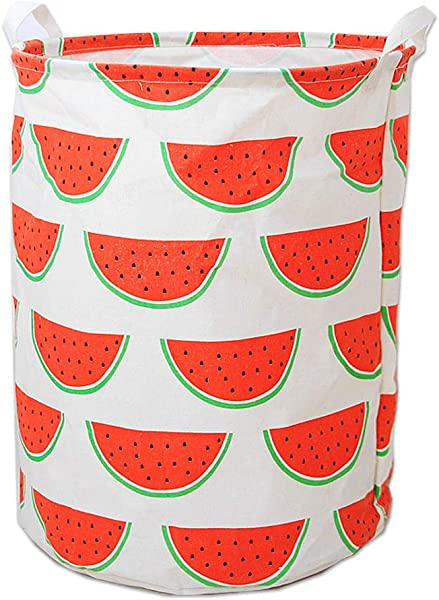 STYLOWY Laundry Hamper With Handles Collapsible Canvas Basket For Storage Bin Kids Room Home Organizer Nursery Storage Baby Hamper 19 7 15 7 Watermelon