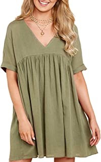 MIROL Women's Short Sleeve V Neck Pleated Babydoll Solid Color Tunic Party Mini Dress