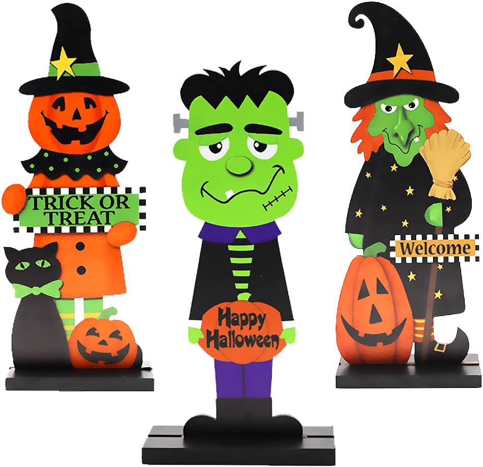 Waybla 3 Pack Halloween Table Decorations, Halloween Crafts Pumpkin Table Centerpieces Wooden for Halloween Party Dinner Coffee Table Topper Tier Tray Room Decor, 10 x 4 Inch