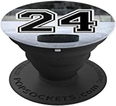 Ice Hockey Custom Jersey Number 24 twenty four Puck on Rink - PopSockets Grip and Stand for Phones and Tablets